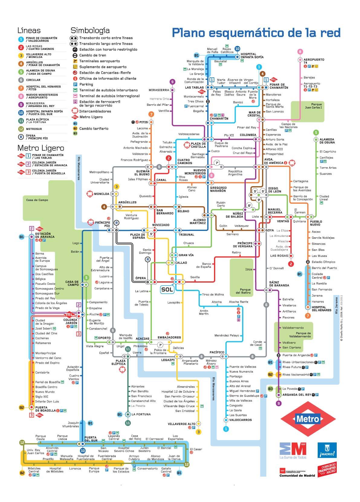 Mapa metro Madrid actualizado